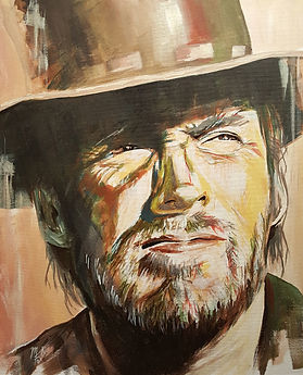 Clint,Eastwood,Art,Portrait,Original,High,Plains,Drifter,Mark,Fox