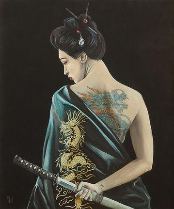 art,original,acrylic,markfox,awesome,sexy,ink,inked,tattoo,japanese,samurai, woman