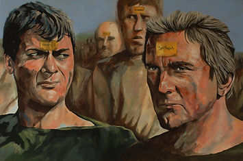 Spartacus, movie, film, classic. tonycurtis, kirkdouglas, acrylic, painting, original, markfox