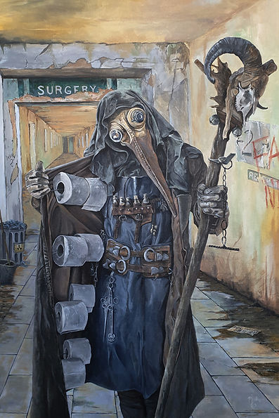 covid, coronavirus, plague, doctor, lockdown, art, artist, markfox,acrylic, painting, original,toiletroll