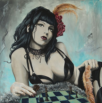 elegant,sexy,chess,girl,sexy,original,art,artwork,acrylic