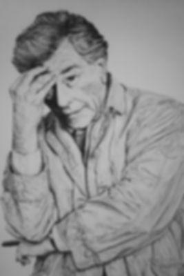 Columbo,Peter,Falk,Art,Original,Art,Drawing,Pencil,Mark,Fox