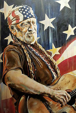 Art,artist,portrait,painting,original,print,acrylic,oils,movie,film,classic,icon,hero,willie,nelson,country,singer,guitar,old,american