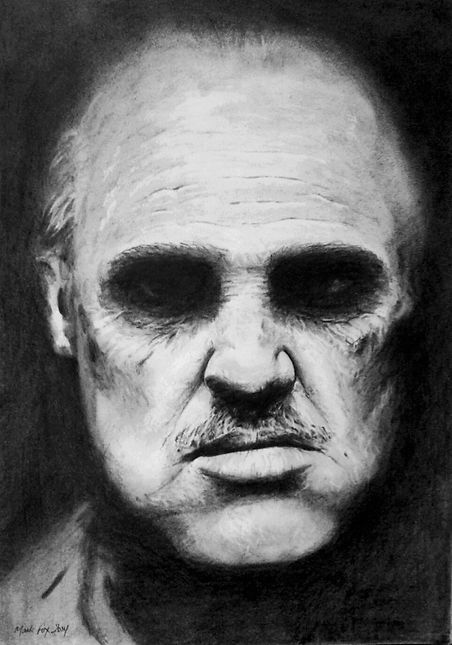 Marlon,Brando,Original,Art,Pencil,Drawing,Mark,Fox