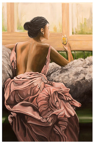 Elegant, dress, champagne, romantic, sexy, art, artist, original, print, limited, new, classy
