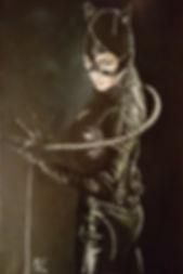 Art,artist,portrait,painting,original,print,acrylic,oils,movie,film,classic,icon,hero,catwoman,batman,leather