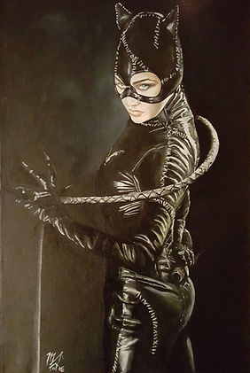 Art,artist,portrait,painting,original,print,acrylic,oils,movie,film,classic,icon,hero,catwoman,batman,leather