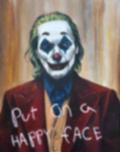 art,original,acrylic,painting,joker,batman,joaquin, phoenix,happy,mentalhealth