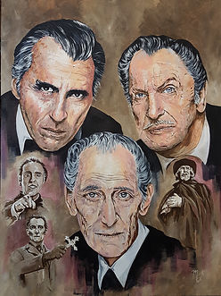 Art,artist,portrait,painting,original,print,acrylic,oils,movie,film,classic,icon,hero,horror,hammer,christopherlee,dracula,vincentprice,witchfinder,petercushing,vanhelsing
