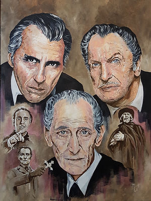 art, artist, original, painting, acrylic, horror, hammer, christopherlee, petercushing, vincentprice