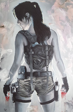 Lara,Croft,Tomb,Raider,Art,Oil,Original,Painting,Game,Sexy