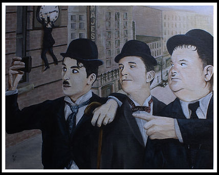 art,original,acrylic,portrait,chaplin,laurel,hardy,silentmovie,movie,film,haroldlloyd,markfox