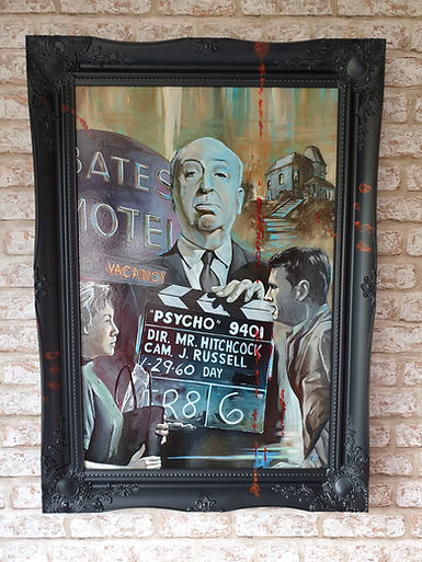 psycho,movie,fil,classic,hitchcock,art,painting,original,classic,awesome,artwork