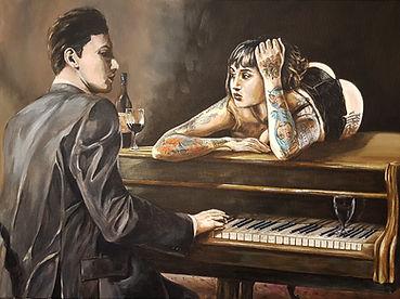 Art,artist,portrait,painting,original,print,acrylic,oils,sexy,tattoo,ink,inkedgirl,tattooed,beauty,seductive,girl,woman,lady,stripper,suggestive,piano,music,pianist