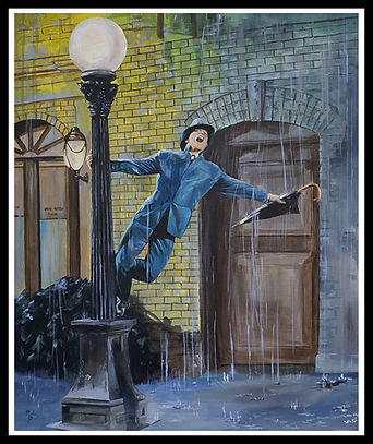Gene, kelly, singing, rain, movie,classic,legend,sing, dance,musical,acrylic,original, artwork,workofart,new