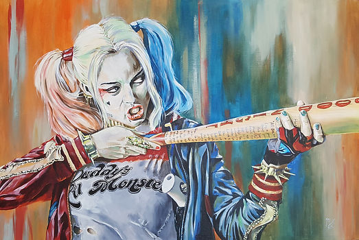 Art,artist,portrait,painting,original,print,acrylic,oils,movie,film,classic,icon,hero,batman,darkknight,suicidesquad,harleyquinn