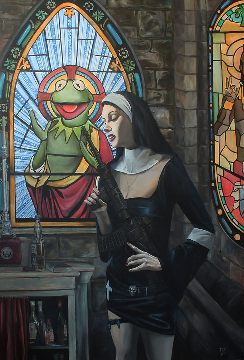 art,acrylic,painting,original,awesome,markfox,painting,nun,sexy,gun,stainedglass,kermit,church,southerncomfort,sexy