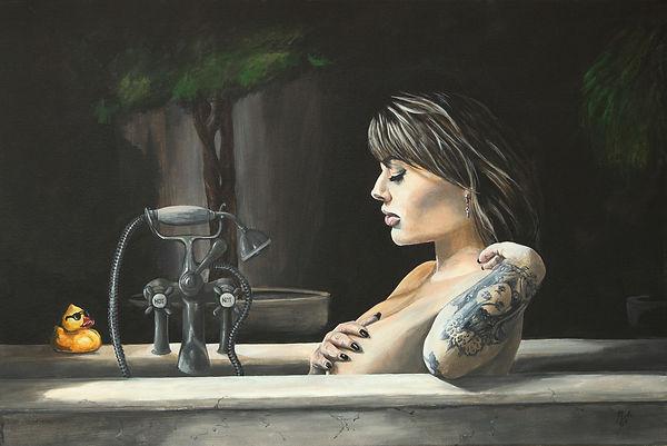 sexy,tattoo,bath,duck,peeking,original,art,acrylic, painting,