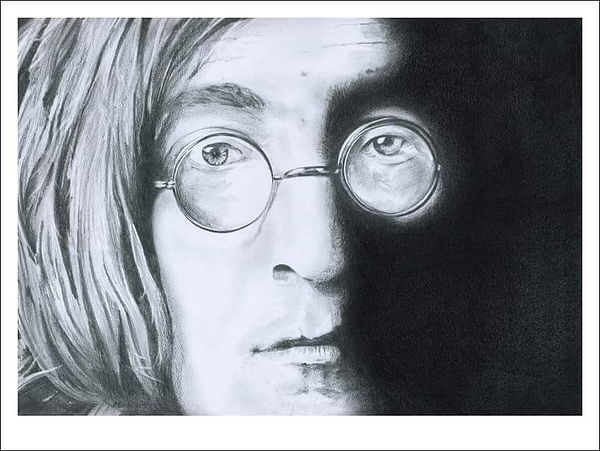 John,Lennon,Art,Original,Pencil,Drawing,Mark,Fox