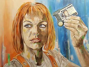 Art,artist,portrait,painting,original,print,acrylic,oils,movie,film,classic,icon,hero,fifthelement,brucewillis,scifi,multipass,leeloo