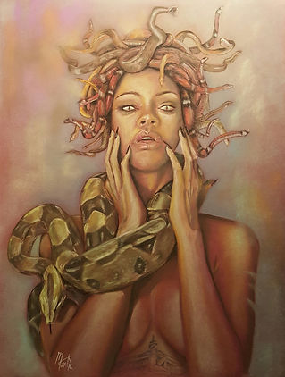 Art,Original,Pastel,Painting,Rihanna,Medusa,Mark,Fox