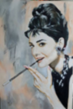 Art,Portrait,AudreyHepburn,Tiffany,Original,Painting