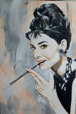 Art,artist,portrait,painting,original,print,acrylic,oils,movie,film,classic,icon,hero,audrey,hepburn,golightly,breakfast,tiffanys,classy,actress