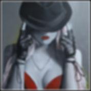art,artist,portrait, painting,original,sexy,hat,girl,woman,acrylic