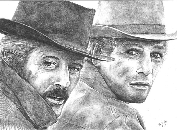 Butch,Cassidy,Sundance,Kid,Paul,Newman,Robert,Redford,Original,Art,Pencil,Drawing,Mark,Fox