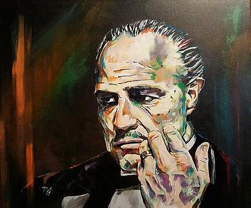 Art,artist,portrait,painting,original,print,acrylic,oils,movie,film,classic,icon,hero,gangster,mafia,godfather,marlon,brando,italian,corleone