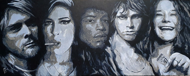 27club,kurtcobain,amywinehouse,jimihendrix,jimmorrison,janisjoplin,art,original,markfox,acrylic,painting,music,icon,legend