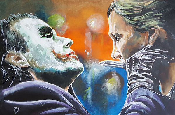 Art,artist,portrait,painting,original,print,acrylic,oils,movie,film,classic,icon,hero,joker,batman,darkknight
