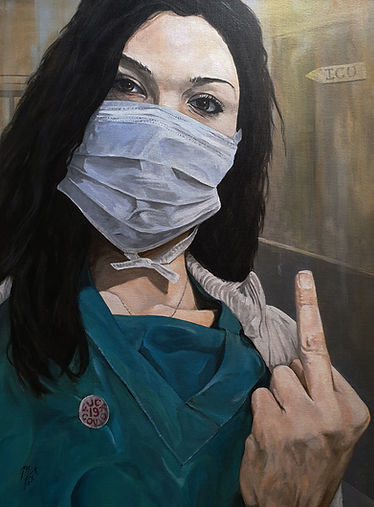 covid, coronavirus, plague, lockdown, art, artist, portrait, markfox, nurse, hospital, acrylic, icu