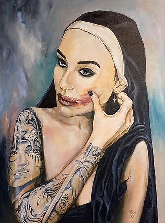 artist, Nun, Wicked, Naughty, Original, Artwork, Acrylic