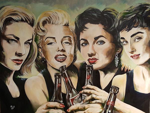 Lauren Bacall, Marilyn Monroe, Liz Taylor, Audrey Hepburn, Art, Original, Portrait, Icon, Sex Symbol