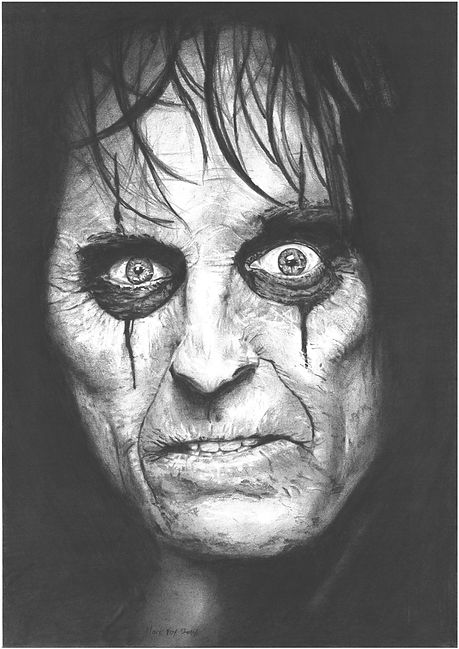 Alice,Cooper,Art,Original,Pencil,Drawing,Scary,Mark,Fox