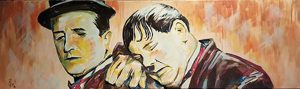 Art,artist,portrait,painting,original,print,acrylic,oils,movie,film,classic,icon,hero,laurel,hardy,stanlaurel,oliverhardy,silentmovie,comedy,blackandwhite,funny,mess