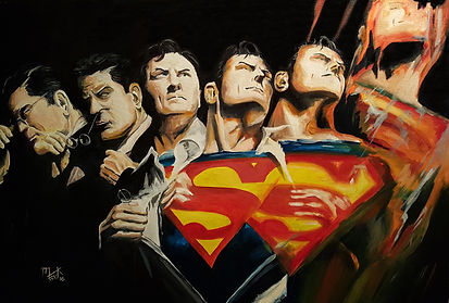 Art,artist,portrait,painting,original,print,acrylic,oils,movie,film,classic,icon,hero,dccomic,superman,clarkkent