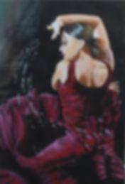 sexy,dancer,spanish,flamenco,in,inked,tattoo,ar,portrait,original,painting
