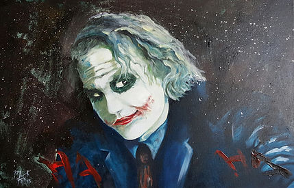 Art,Artist,Original,Artwork,Painting,Joker,Batman,Heath,Ledger,Mark,Fox
