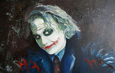 Art,artist,portrait,painting,original,print,acrylic,oils,movie,film,classic,icon,hero,joker,batman