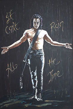Art,artist,portrait,painting,original,print,acrylic,oils,movie,film,classic,icon,hero,thecrow,brandonlee,horror,supernatural,guitar