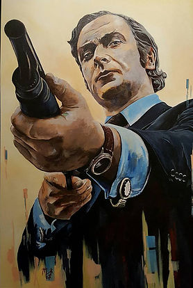 Art,artist,portrait,painting,original,print,acrylic,oils,movie,film,classic,icon,hero,michaelcaine,getcarter,jackcarter,shotgun,suit,sixties