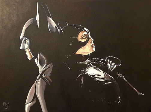 Art,artist,portrait,painting,original,print,acrylic,oils,movie,film,classic,icon,hero,batman,catwoman,leather