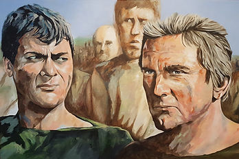 Art,artist,portrait,painting,original,print,acrylic,oils,movie,film,classic,icon,hero,kirkdougla,tonycurtis,spartacus