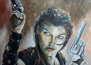 Art,artist,portrait,painting,original,print,acrylic,oils,movie,film,classic,icon,hero,alice,residentevil,video,game,
