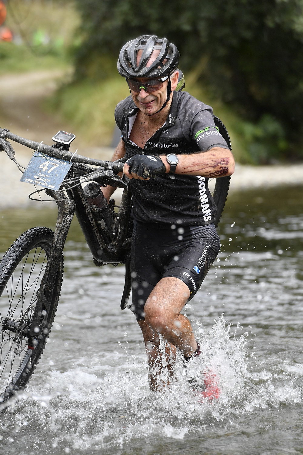 Karapoti Classic 2019 - the final river crossing, bloodied but in good shape.