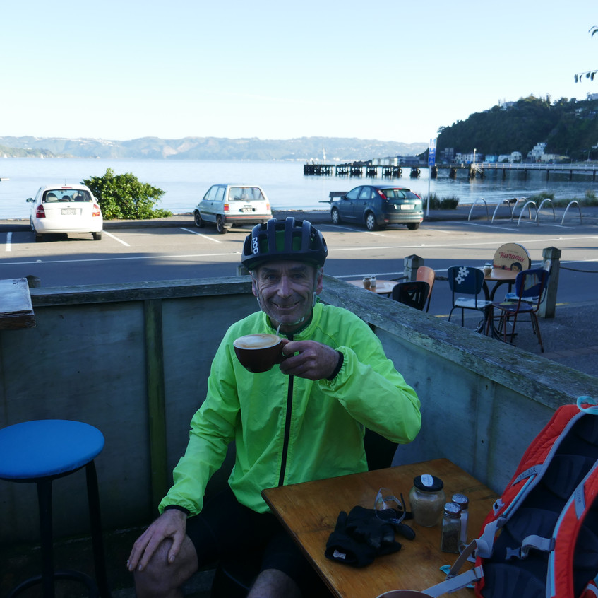 Coffee in Eastbourne.  Last refreshment stop before diving into the remote Wairarapa Coastline!