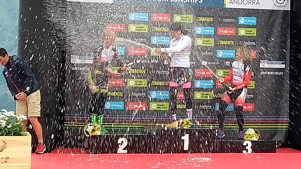Women celebrating their win at the UCI World Champs