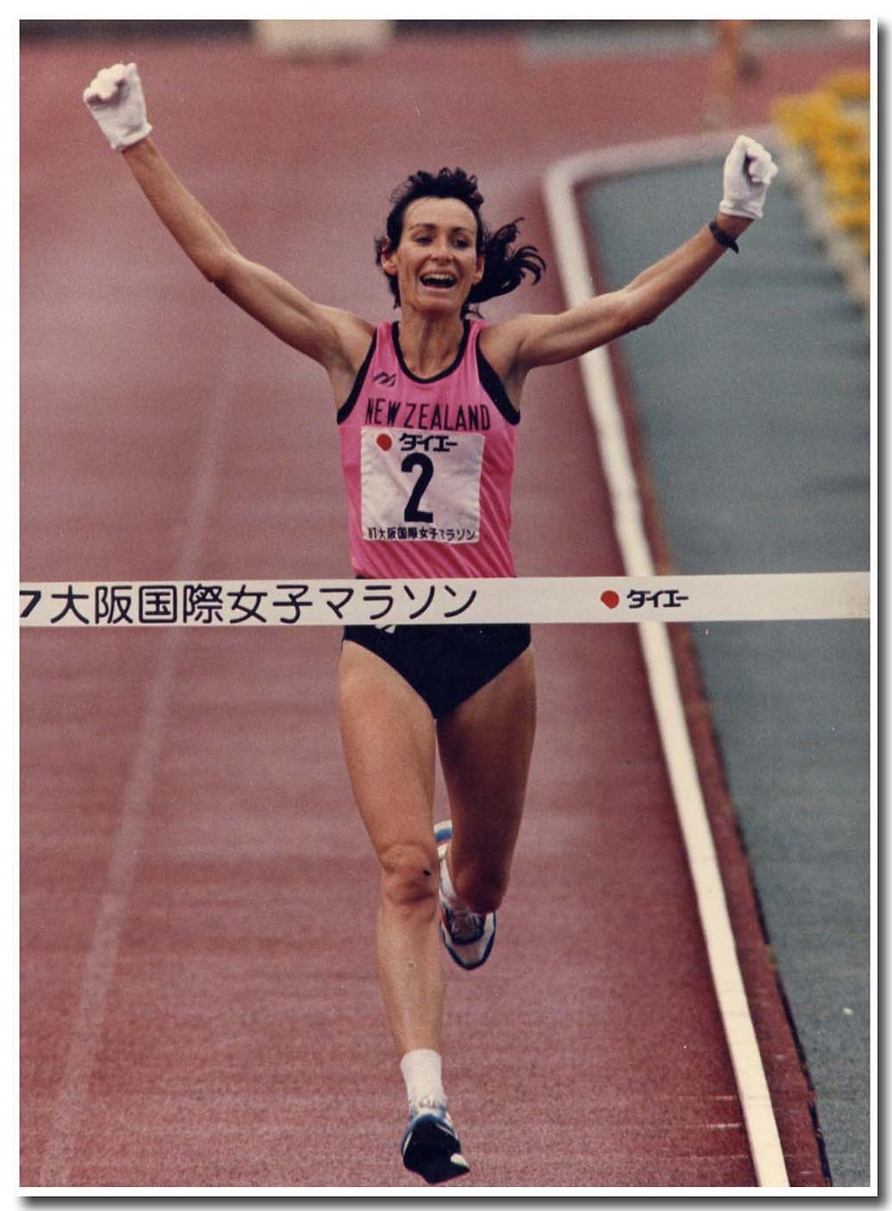 Lorraine winning Osaka Marathon